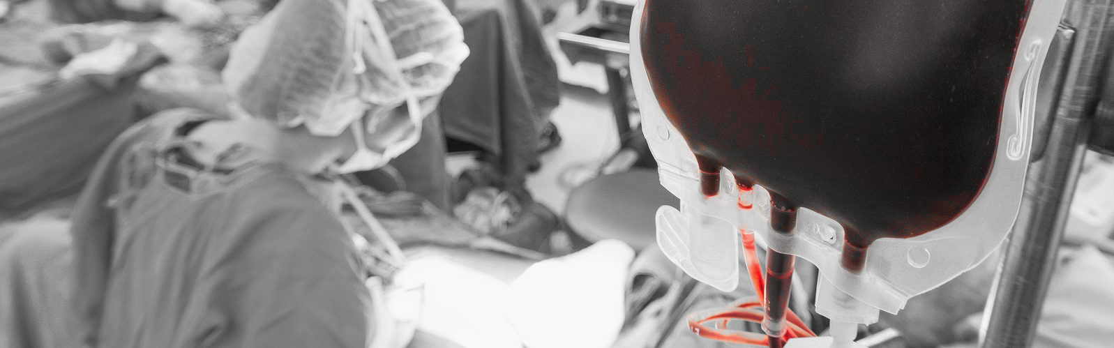 Blood transfusion in a operation room